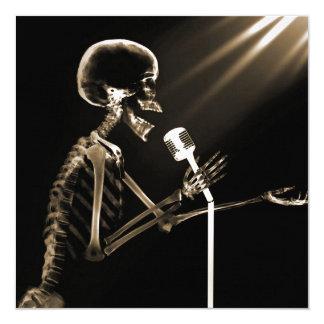 X-RAY VISION SKELETON SINGING ON RETRO MIC - SEPIA CUSTOM ANNOUNCEMENT