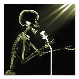 X-RAY VISION SKELETON SINGING ON RETRO MIC YELLOW CUSTOM ANNOUNCEMENT