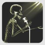 X-RAY VISION SKELETON SINGING ON RETRO MIC YELLOW SQUARE STICKERS