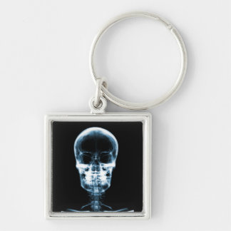 X-RAY VISION SKELETON SKULL - BLUE Silver-Colored SQUARE KEY RING