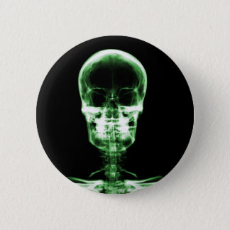 X-RAY VISION SKELETON SKULL - GREEN 6 CM ROUND BADGE