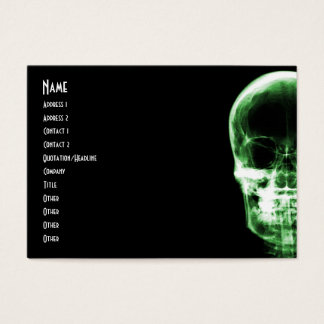 X-RAY VISION SKELETON SKULL - GREEN BUSINESS CARD