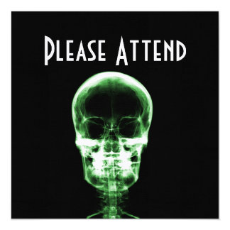 X-RAY VISION SKELETON SKULL - GREEN 13 CM X 13 CM SQUARE INVITATION CARD