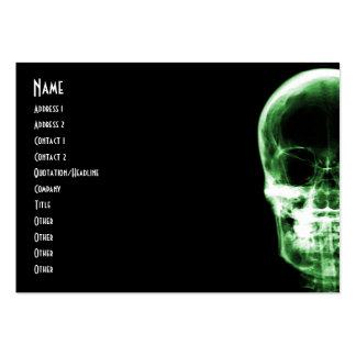 X-RAY VISION SKELETON SKULL - GREEN PACK OF CHUBBY BUSINESS CARDS