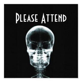 X-RAY VISION SKELETON SKULL - ORIGINAL 13 CM X 13 CM SQUARE INVITATION CARD