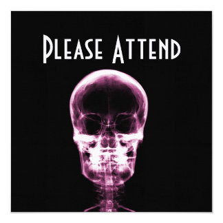 X-RAY VISION SKELETON SKULL - PINK 13 CM X 13 CM SQUARE INVITATION CARD