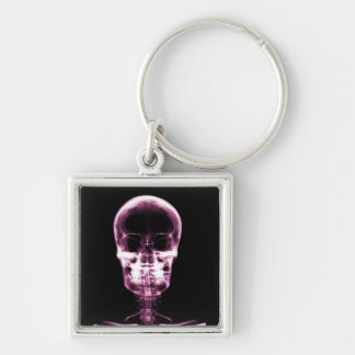 X-RAY VISION SKELETON SKULL - PINK Silver-Colored SQUARE KEY RING