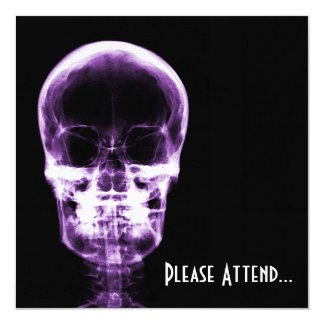 X-RAY VISION SKELETON SKULL - PURPLE 13 CM X 13 CM SQUARE INVITATION CARD