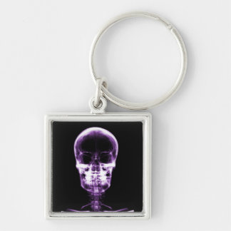 X-RAY VISION SKELETON SKULL - PURPLE Silver-Colored SQUARE KEY RING