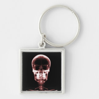 X-RAY VISION SKELETON SKULL - RED Silver-Colored SQUARE KEY RING