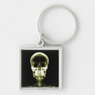 X-RAY VISION SKELETON SKULL - YELLOW Silver-Colored SQUARE KEY RING