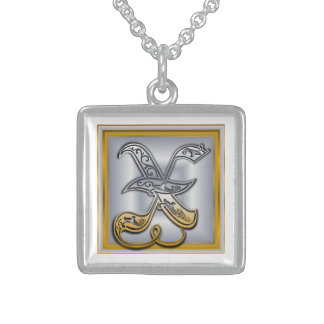 X Royal Initial Monogram Necklace Pendants