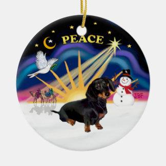 X-Sunrise - Black-Tan Dachshund Christmas Ornament