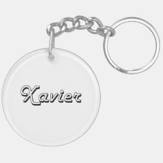 Xavier Classic Retro Name Design Double-Sided Round Acrylic Key Ring