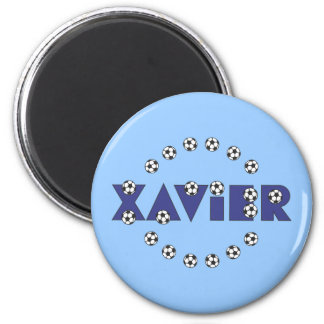 Xavier in Soccer Blue 6 Cm Round Magnet
