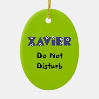 Xavier in Soccer Blue Double-Sided Oval Ceramic Christmas Ornament