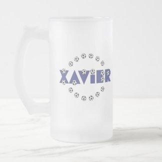 Xavier in Soccer Blue Frosted Glass Mug