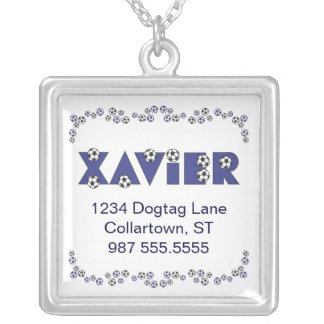Xavier in Soccer Blue Square Pendant Necklace