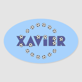 Xavier in Soccer Blue Oval Sticker