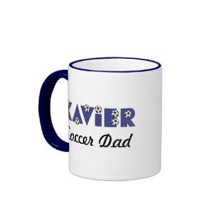 Xavier in Soccer Blue Ringer Mug