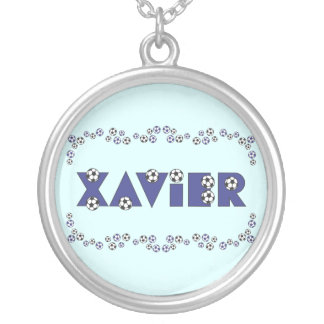 Xavier in Soccer Blue Round Pendant Necklace