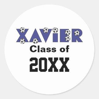 Xavier in Soccer Blue Round Sticker