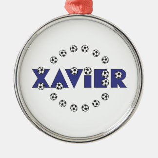 Xavier in Soccer Blue Silver-Colored Round Decoration