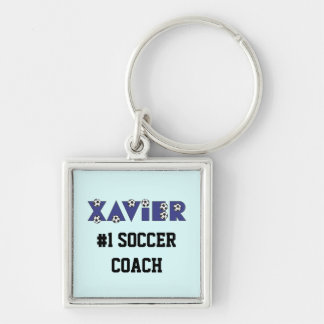 Xavier in Soccer Blue Silver-Colored Square Key Ring