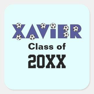 Xavier in Soccer Blue Square Sticker