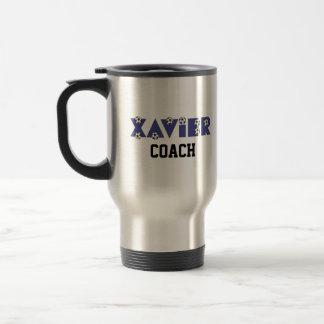 Xavier in Soccer Blue Stainless Steel Travel Mug