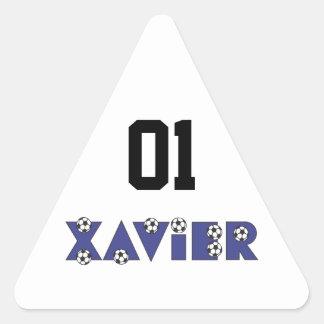 Xavier in Soccer Blue Triangle Sticker