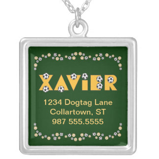 Xavier in Soccer Gold Square Pendant Necklace
