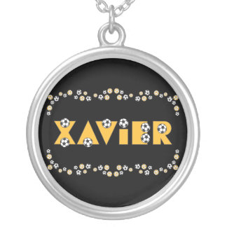 Xavier in Soccer Gold Round Pendant Necklace