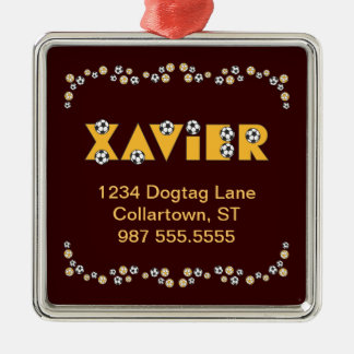 Xavier in Soccer Gold Silver-Colored Square Decoration