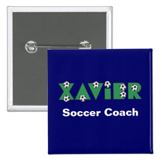 Xavier in Soccer Green Pinback Button