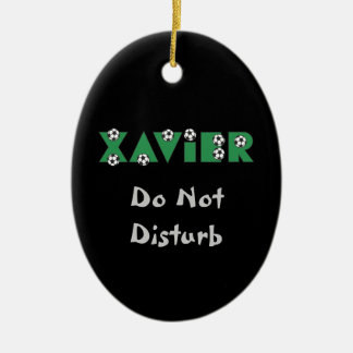Xavier in Soccer Green Ceramic Oval Decoration