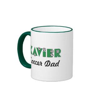 Xavier in Soccer Green Ringer Mug