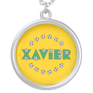 Xavier in Soccer Green Round Pendant Necklace