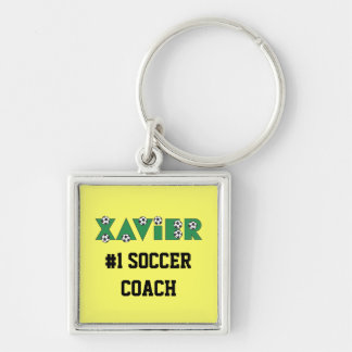 Xavier in Soccer Green Silver-Colored Square Key Ring