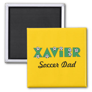 Xavier in Soccer Green Square Magnet
