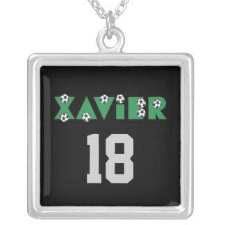 Xavier in Soccer Green Square Pendant Necklace