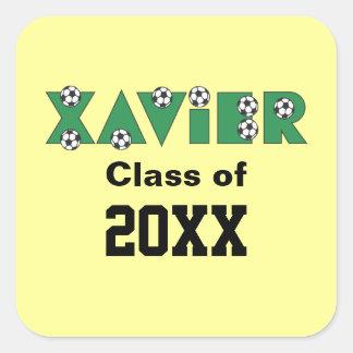 Xavier in Soccer Green Square Sticker