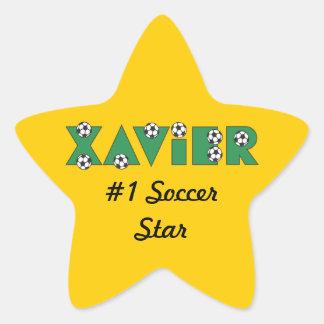Xavier in Soccer Green Star Sticker