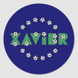 Xavier in Soccer Green Round Stickers