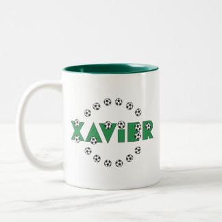 Xavier in Soccer Green Two-Tone Mug