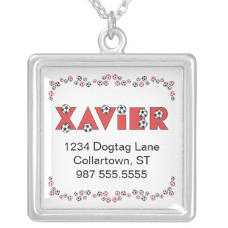 Xavier in Soccer Red Square Pendant Necklace
