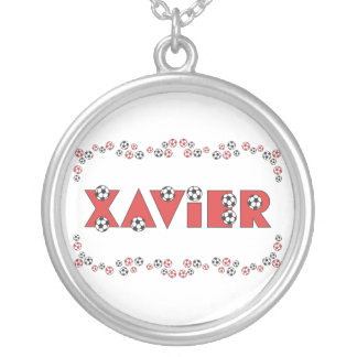 Xavier in Soccer Red Round Pendant Necklace