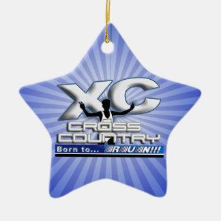 XC BORN TO RUN CROSS COUNTRY LOGO CERAMIC STAR DECORATION