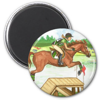 XC Bright Chestnut by the lake, Eventing 6 Cm Round Magnet