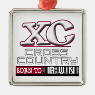 XC CROSS COUNTRY MOTTO BORN TO RUN MAROON CHRISTMAS ORNAMENT
